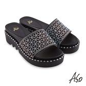 A.S.O 時尚流行 夏季輕量幻彩閃色布燙鑽時髦拖鞋 黑