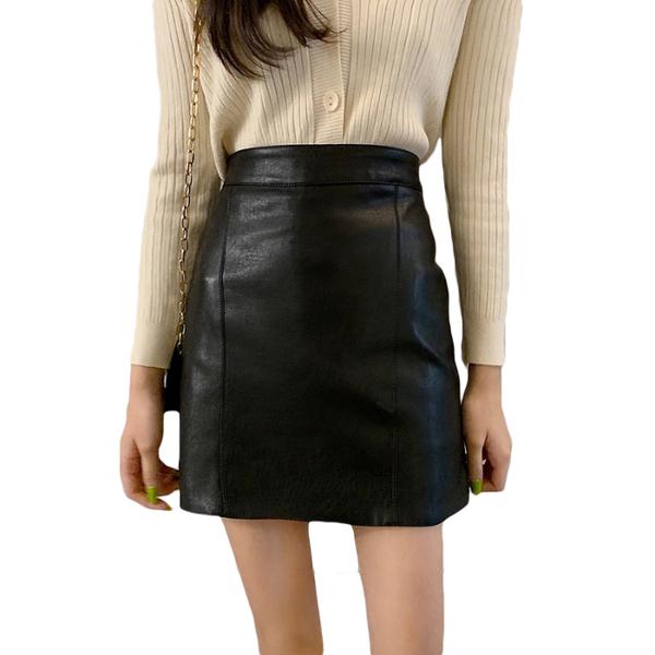 女秋裝2019年新款韓版學生A字短裙高腰顯瘦黑色半身裙包臀皮裙子