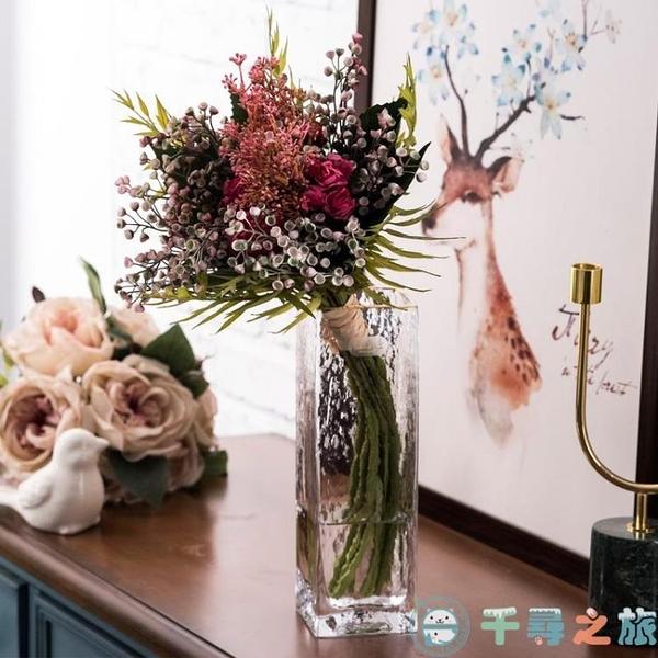玻璃花瓶客廳創意歐式工藝品擺件錘紋方口花瓶透明描金【千尋之旅】