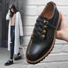 真皮女鞋 2019新款時尚顯瘦百搭牛皮繫帶低跟紳士鞋~黑色