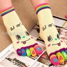五指襪五指襪女純色棉襪女士秋冬季厚款中筒襪韓國日繫元素可愛卡通襪 快速出貨