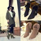 高跟短靴女士時尚毛毛磨砂秋冬季新款百搭尖頭粗跟馬丁靴 蘿莉小腳ㄚ