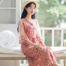 【現貨下殺】文藝刺繡溫柔網紗連衣裙 長裙 洋裝連衣裙