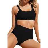 泳裝 比基尼 泳衣 素色 運動 高腰 三角 兩件套 細肩帶 泳裝 S-XL【LC410656】 ENTER  07/12