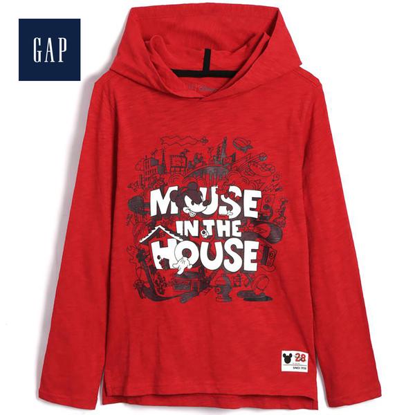 Gap男童Disney迪士尼系列米奇連帽T恤497402-熱情紅