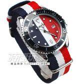SKMEI 時刻美 英倫雙配色 潮流腕錶 帆布錶帶 造型 女錶/中性錶/男錶/都適合 紅x藍x白 SK9133-W3