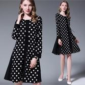 中大尺碼洋裝 雪紡圓領時尚甜美長袖圓點顯瘦連身裙 M-5XL #mm3159 ❤卡樂❤