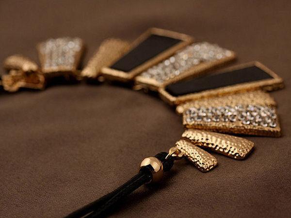 【櫻桃飾品】歐美風誇張幾何圖形鑲鑽造型短鍊 項鍊  【20751】