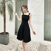 2018夏季新款韓版氣質吊帶裙A字小黑裙高腰顯瘦大擺復古連衣裙女