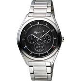 agnes b. Solar 驚豔巴黎太陽能日曆腕錶-黑/40mm V14J-0CG0D(BT5009P1)