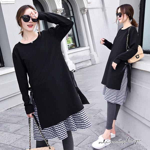 孕婦裝 MIMI別走【P52951】輕鬆優雅 長袖假兩件綁帶格子洋裝 長裙 寬版