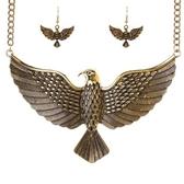 項鍊鍍金+耳環-歐美霸氣老鷹展翅女毛衣鍊2色73nt42[時尚巴黎]