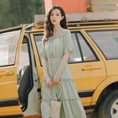 法式洋裝 溫柔風收腰法式初戀長裙仙女超仙森系雪紡方領連身裙女夏-Ballet朵朵