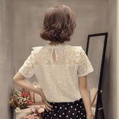 蕾絲上衣 很仙的上衣洋氣雪紡衫女氣質心機鏤空蕾絲短袖2020新款打底小衫夏 寶貝計書