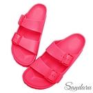 防水鞋 雨鞋 親膚舒適輕量雙扣拖鞋-桃紅