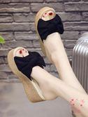 (低價促銷)厚底拖鞋女夏時尚性感蝴蝶結正韓鬆糕外穿防滑厚底超高跟涼拖鞋