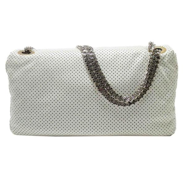 CHANEL 香奈兒 白色牛皮洞洞造型2.55銀鍊條包Drill Perforated Flap Bag【BRAND OFF】