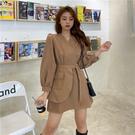 洋裝 長袖洋裝時尚炸街設計感不規則西裝顯...