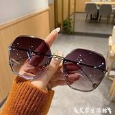 墨鏡 新款無框切邊太陽鏡潮小紅書氣質墨鏡女大臉顯瘦時尚眼鏡防紫外線 艾家