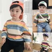 男童連帽T恤2020秋裝新款彩條紋嬰兒上衣寶寶洋氣潮衣長袖兒童衣服小 滿天星