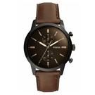 FOSSIL 深夜義式咖啡秘雙眼錶盤真皮腕錶(FS5437)-深咖啡色x44mm