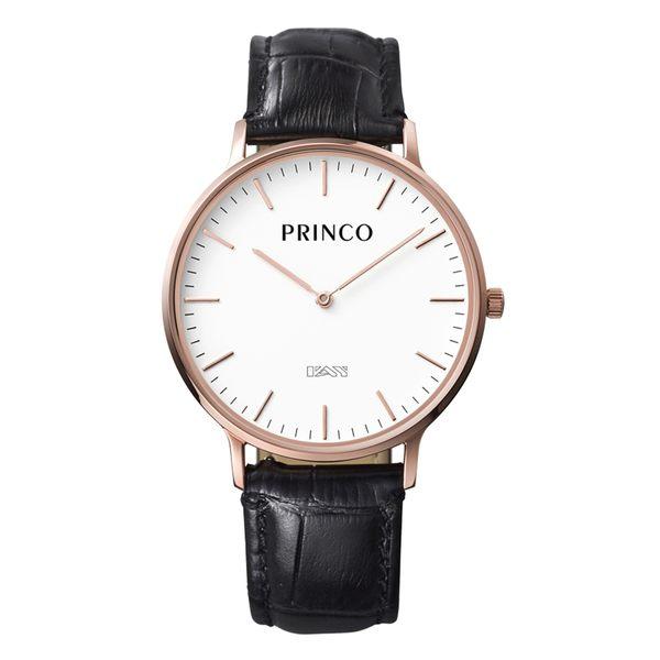PRINCO 時尚經典一卡通速PAY石英錶-37mm白底金邊(快拆皮革錶帶)(MD0200G)