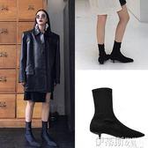 細跟裸靴鞋2018歐美秋冬細跟尖頭短靴女貓跟彈力襪靴馬丁靴及裸靴 伊蒂斯女裝