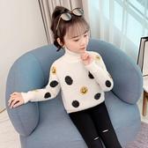 女童韓版秋冬裝兒童洋氣高領上衣女大童加厚針織衫小女孩寬鬆毛衣
