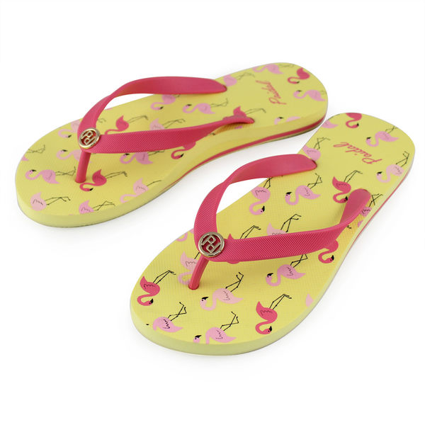 Paidal 紅鶴時尚風足弓夾腳涼拖鞋-奶油黃