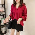 VK精品服飾 韓國風顯瘦喇叭袖襯衫長袖上衣