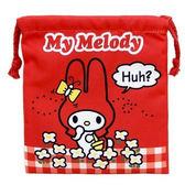 〔小禮堂〕美樂蒂 棉質束口袋《紅.格紋花朵》18x20cm.縮口袋.收納袋 4930972-46342