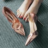 淺口鞋 2019春夏新款尖頭高跟鞋細跟側空OL漆皮女鞋淺口百搭銀色單鞋涼鞋