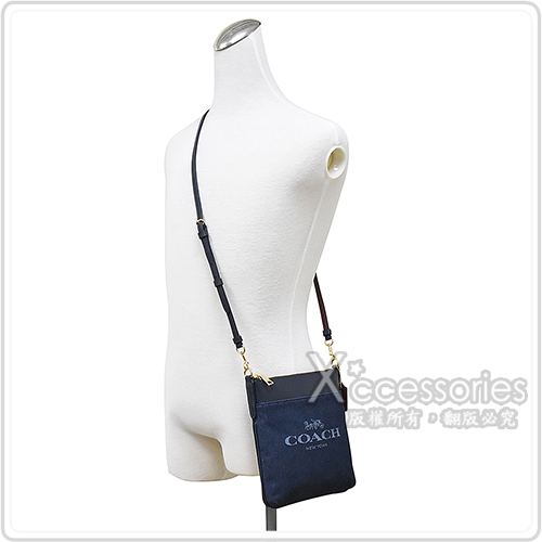 COACH專櫃款KITT藍字刺繡LOGO緹花帆布拼接牛皮拉鍊斜背包(丹寧藍)