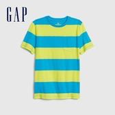 Gap男童清爽撞色條紋圓領短袖T恤573630-黃色
