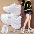 PAPORA韓系增高休閒鞋小白鞋KS7126黑色/白色