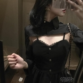 無袖洋裝 吊帶裙短裙2020年季新款裙子修身顯瘦港風法式洋裝兩件套  【快速出貨】
