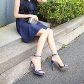 涼鞋 細高跟涼鞋純色百搭露趾中空性感一字扣涼鞋 巴黎春天