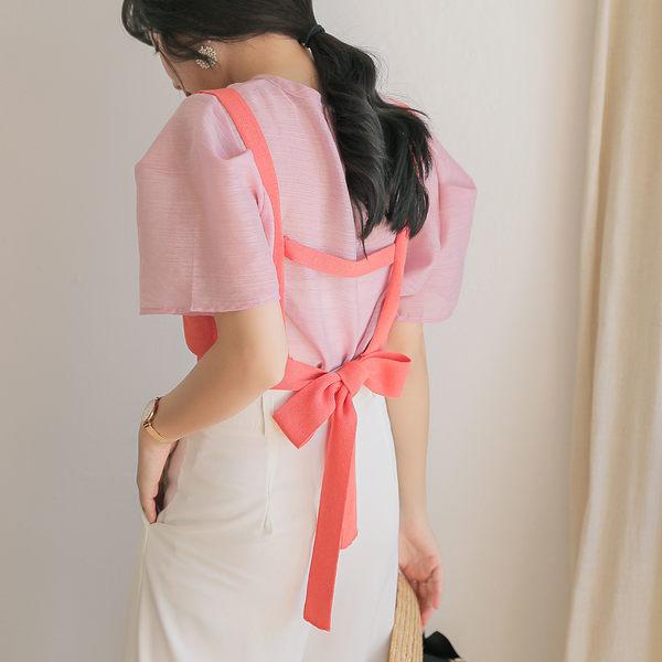 IN'SHOP兩件式公主袖透膚上衣+V領針織背心-共2色【KT221379】