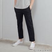 【GIORDANO】 男裝彈力低腰修身九分褲 - 09 標誌黑