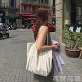 韓國百搭港風ins帆布袋慵懶風學生休閒簡約單肩包chic大容量包女