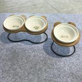 新品米奇寵物雙碗貓咪食盆碟陶瓷水碗帶碗架傾斜保護頸椎外貿狗碗 薔薇時尚
