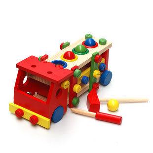 裝敲打工程車玩具 螺母組合敲球螺絲車