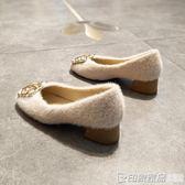 秋冬低跟方頭毛毛單鞋女方扣粗跟奶奶鞋復古風上班工作鞋黑色職業  印象家品