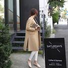 喬依 修身設計 厚板毛呢外套  加厚 保暖 黑色 駝色 開叉保暖外套大衣【D129】