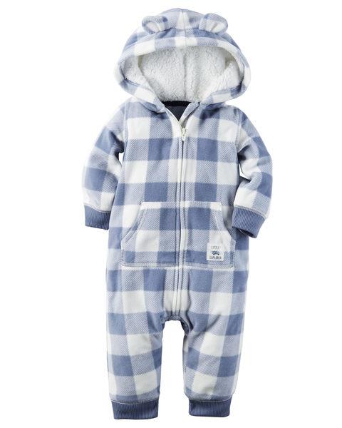【美國Carter's】長袖連帽保暖刷毛連身衣- 可愛熊耳格紋系列 118G701