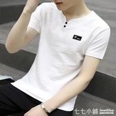 棉麻T恤~夏季棉麻短袖t恤衫男士潮流V領純棉半袖男上衣刺繡桃領白衣服夏裝
