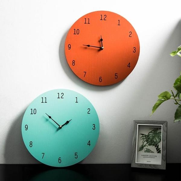 客廳時鐘 北歐簡約ins風原木無框電池時鐘簡美圓形客廳飯店裝飾品數字掛鐘【快速出貨八折促銷】