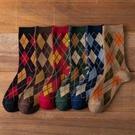 秋冬季菱形格子襪子女長筒復古英倫風中筒襪ins潮韓國日系堆堆襪