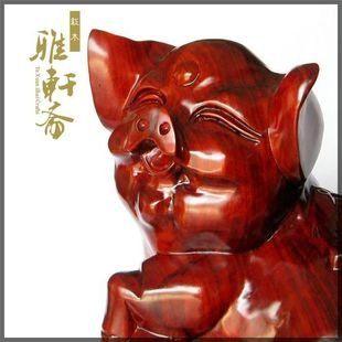 紅木工藝品 木雕豬擺件 富足如意豬
