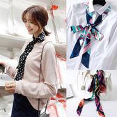 小絲巾 女韓版窄超長雙層緞面領巾頭繩腰帶包包領帶印花圍巾